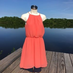 NWT Francesca's coral high neck sleeveless dress